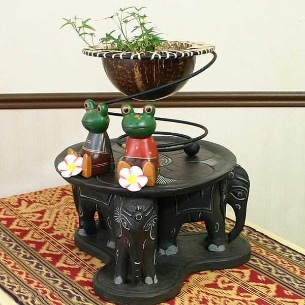 アジアン雑貨 3頭の象のテーブルスタンド