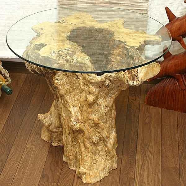 バリ島から世界に一つ【コーヒーの木サイドガラステーブル】