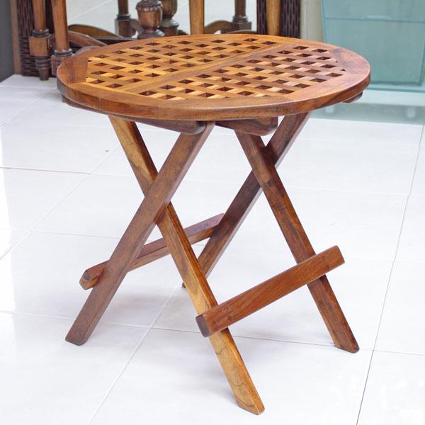 折りたたみガーデンテーブル チーク材(ブラウン)
