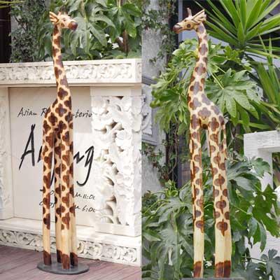 木彫り置物キリン100cmナチュラル