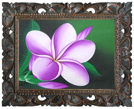 花のアート・プルメリア絵画M−7 木彫りの額付き