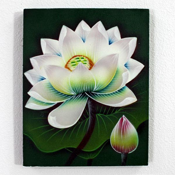 バリ絵画 蓮の花 ロータス 白 ホワイト
