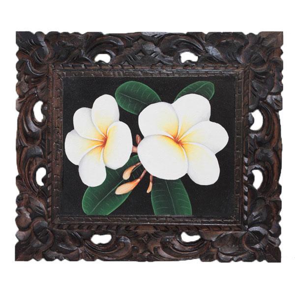 バリ絵画 プルメリアの花12