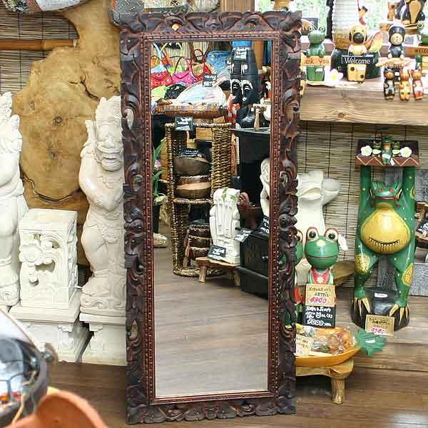 木彫りのレリーフミラー5001 アジアン鏡