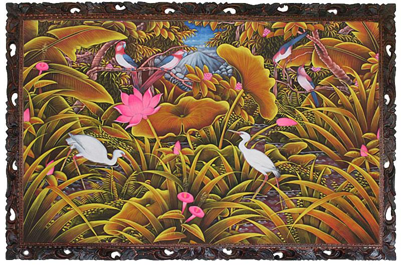 バリ島から素敵なバリ絵画  南の島の鳥と花 LL−1
