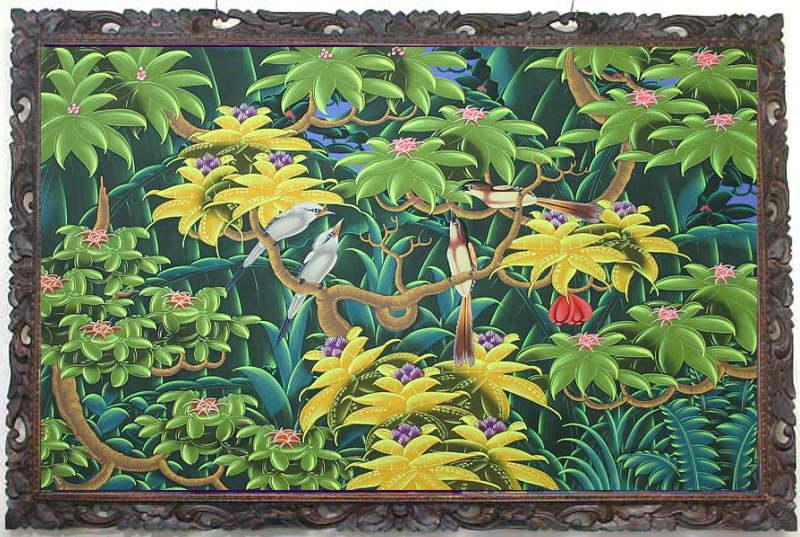 バリ島から素敵なバリ絵画 南の島の鳥と花 LL−10