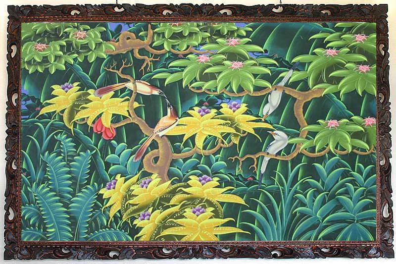 バリ島から素敵なバリ絵画 南の島の鳥と花 LL−17