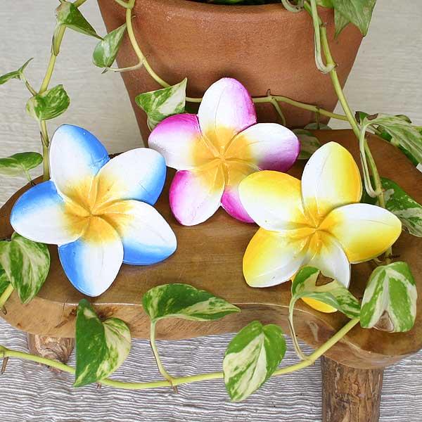 バリ島の花木彫りのオブジェ【プルメリアの花*特大*カラー】