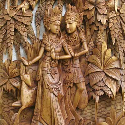 木彫りのレリーフ・ラーマ&シータS1