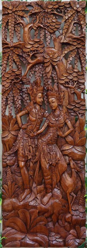 木彫りの彫刻レリーフ ラーマ&シータ