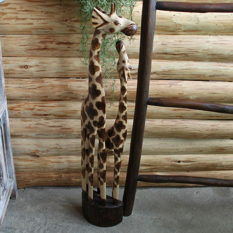 木彫り 置物 キリン 親子 100cm ナチュラル