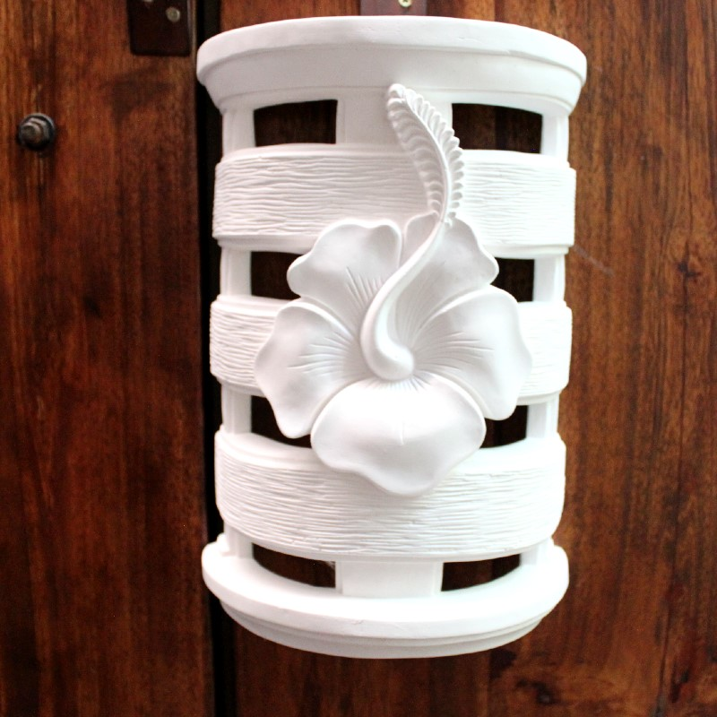 ストーンランプカバー 室内用 壁飾り ハイビスカス(照明なし)