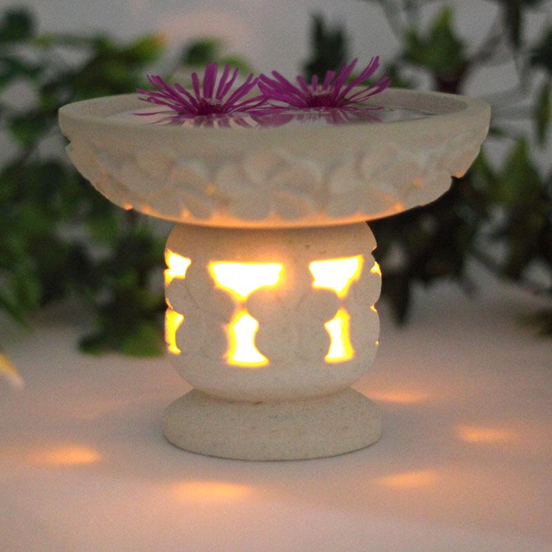 LEDキャンドル付き パラス石の水鉢セット