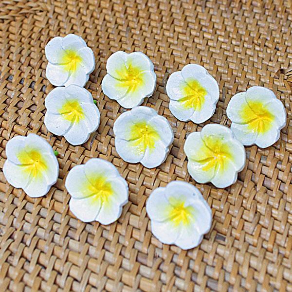 木彫りの造花 プルメリアの花 超ミニ (10個入り)