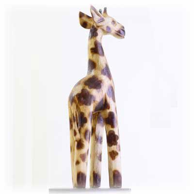 木彫り置物キリン20cmナチュラル