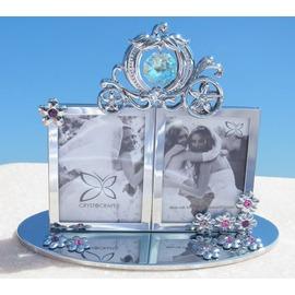 誕生日プレゼント/スワロフスキー/シンデレラの小さな写真立て2/シルバー