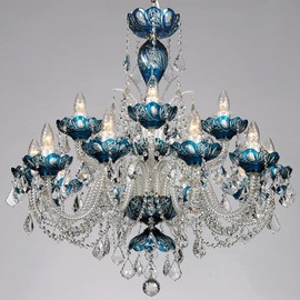 スワロフスキー シャンデリア CH−15GA−ブルー/15灯/青い高級ボヘミアン切子タイプ  ※在庫確認必須