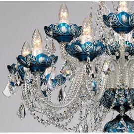 スワロフスキー シャンデリア CH−15GA−ブルー/15灯/青い高級ボヘミアン切子タイプ