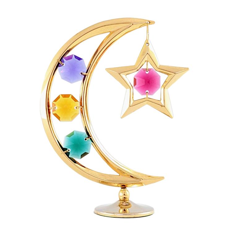 誕生日プレゼント/スワロフスキー/月と星の置物