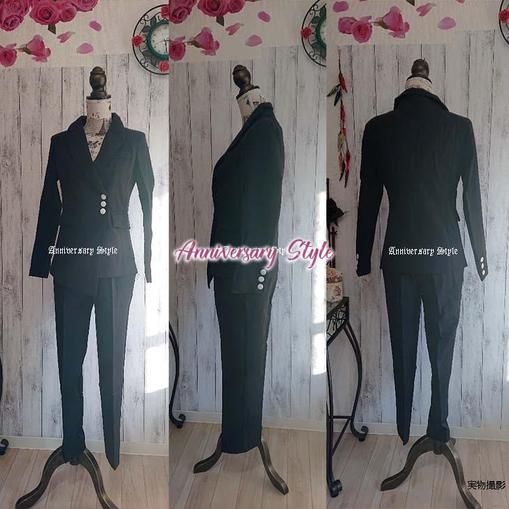 結婚式 パンツスーツ S-XL 一部即納 ピンク チェック 黒無地 ネイビーストライプ セットアップ 長袖 ジャケット パンツ パンツドレス 韓国 ファッション 上下セット ツーピース チェック柄 u97456   フォーマル 低身長 身長が低い 背が低い レディース