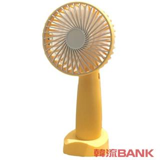ハンディファン 扇風機 バンドファン 黄色 (Portable USB handy fan)