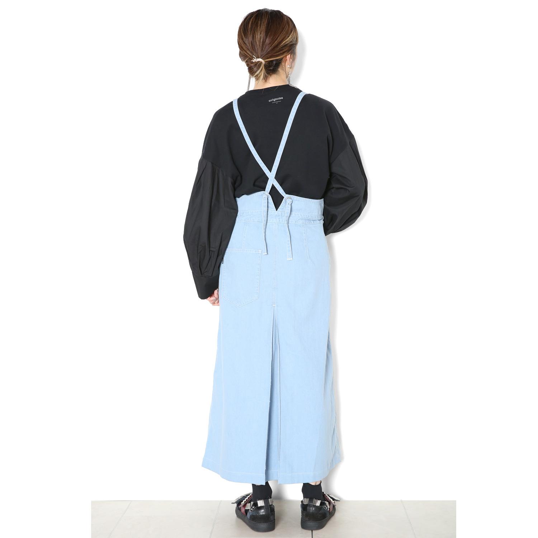 デニムチューブサロペットスカート