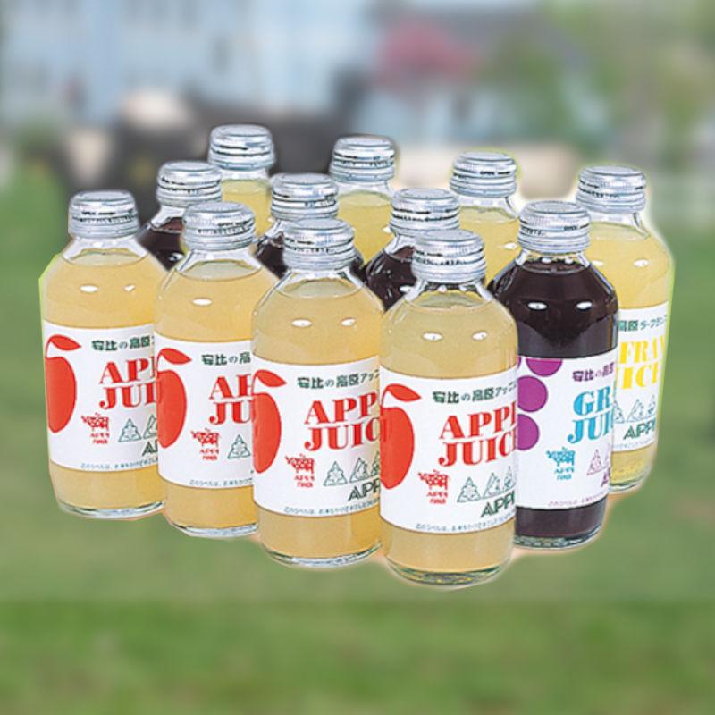 安比高原 ストレートジュース 12本セット(アップル+グレープ+ラ・フランス)