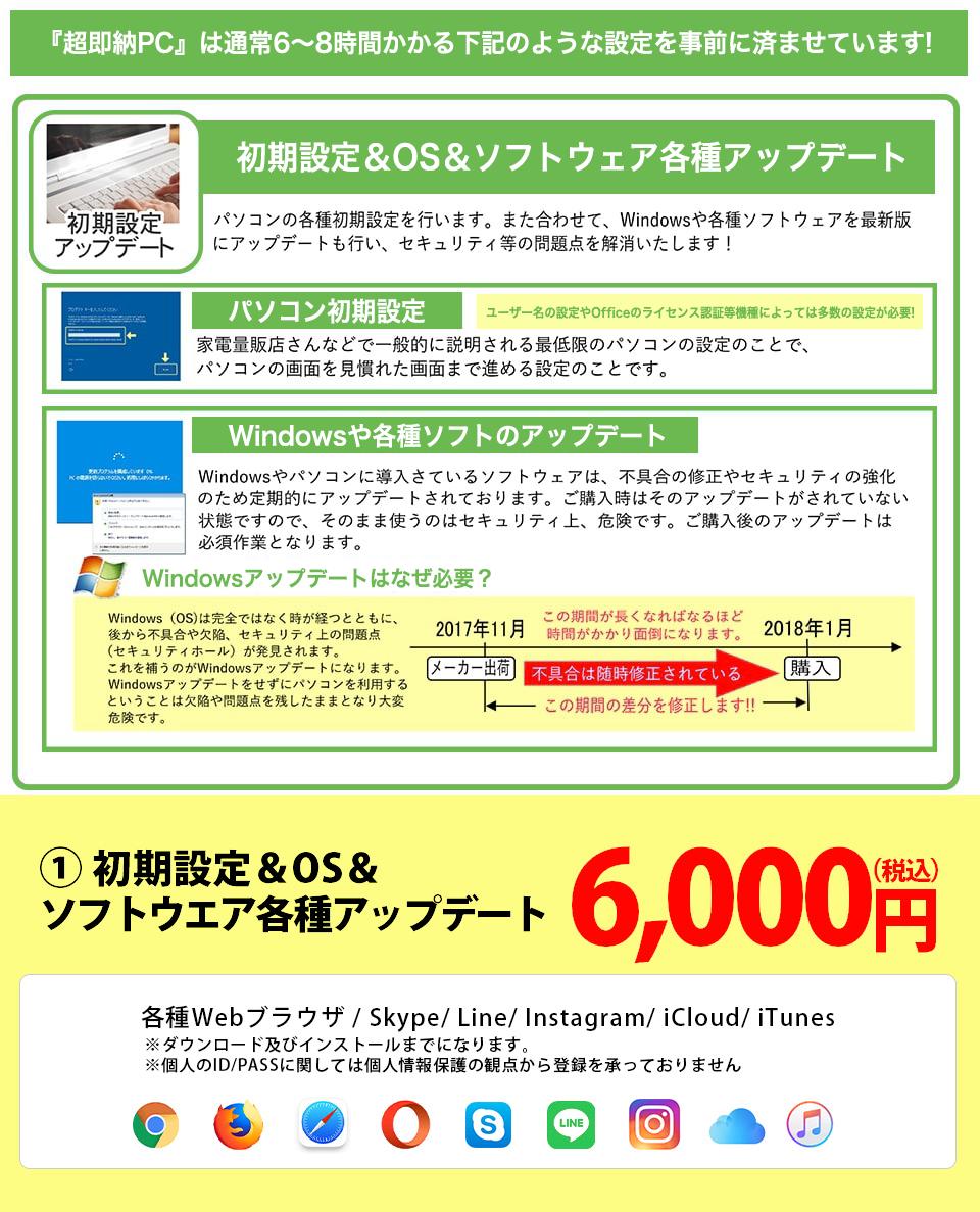 【すぐ使える設定サービス】製品お届け後直ぐにお使いいただけるPC初期設定+サービスです