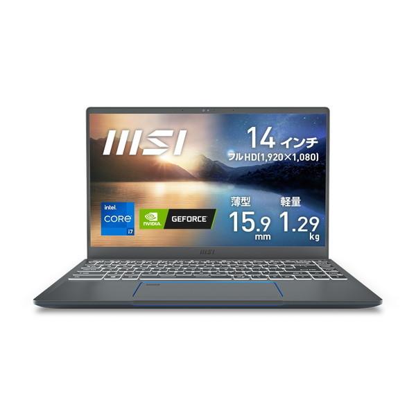 14インチ フルHD / Core i7-1185G7 / MX450/ メモリ 16GB / SSD 512GB / MSI エムエスアイ ビジネス・クリエイターノートパソコン msi Prestige-14-A11SB-611JP