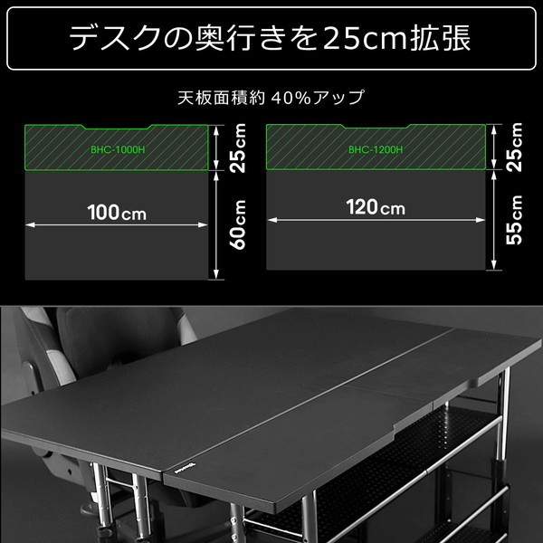 Bauhutte (バウヒュッテ) 昇降式 拡張デスク エクステンションデスク ケーブル収納 ブラック BHC-1200H-BK お取り寄せ ※メーカー在庫潤沢
