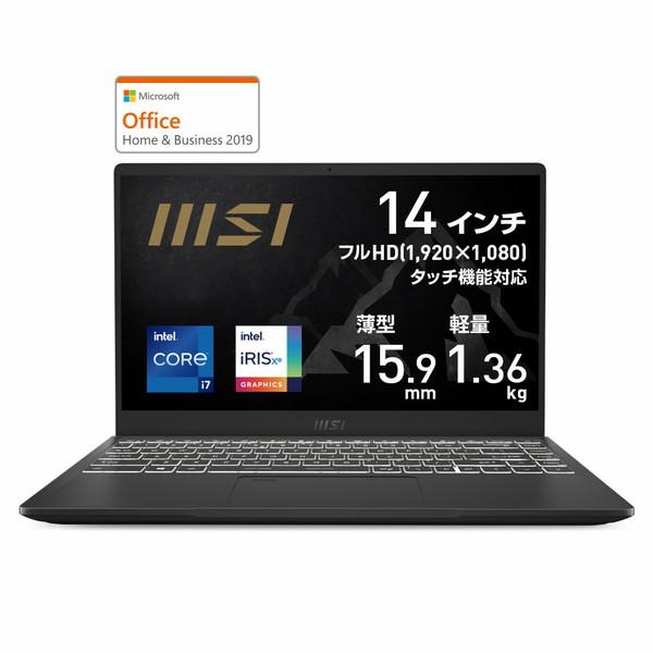 Office付き 14インチ / Core i7-1165G7 / Iris Xe / メモリ 16GB / SSD 512GB / Win10 Home / ビジネスノートパソコン msi エムエスアイ Summit-B14-A11MOT-200JP
