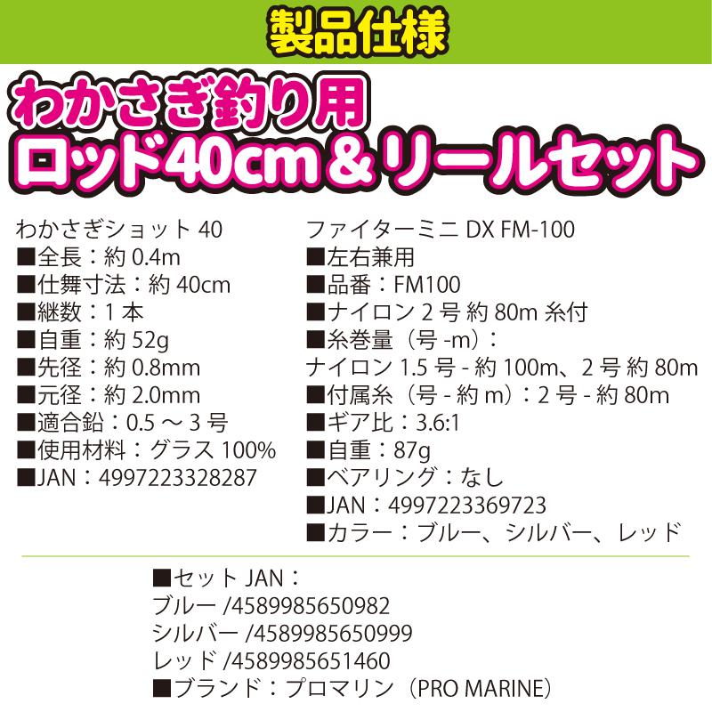 わかさぎ釣り用ロッド 40cm & リールセット ファミリー初心者用 (わかさぎショット40 + ファイターミニDX FM-100)プロマリン(PRO MARINE) 釣具