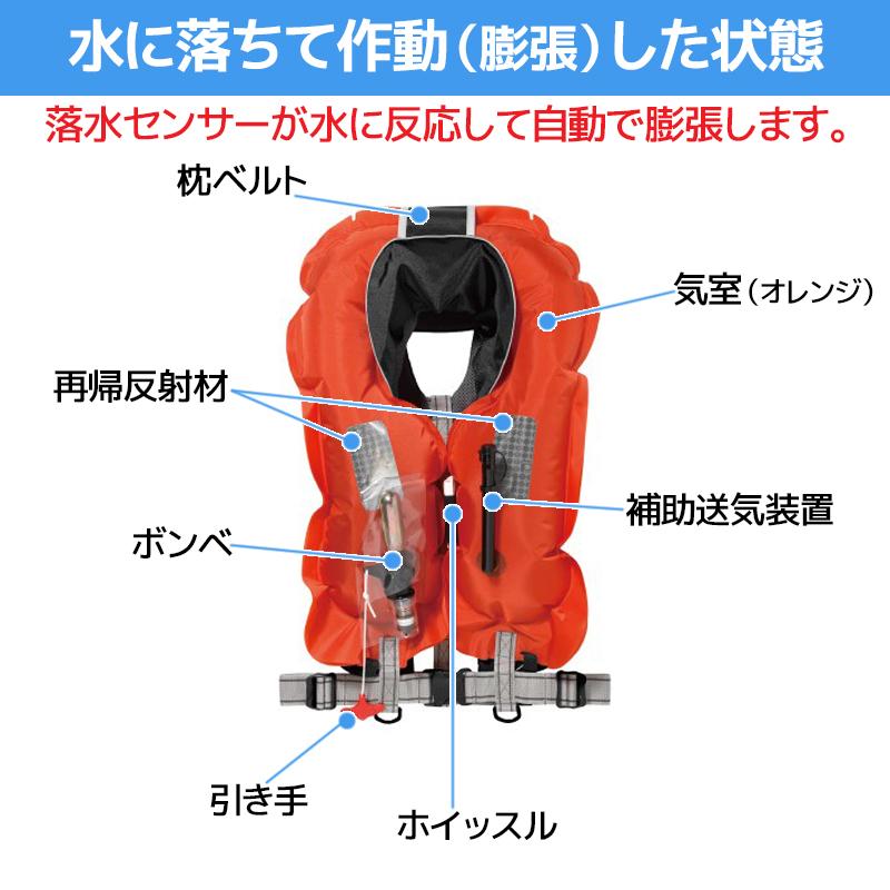 自動膨張式ライフジャケット 肩掛式 ラフトエアジャケット(膨脹式救命具) VF-051K SHIMANO(シマノ) 国交省認定品 タイプA 検定品 桜マーク付 釣り