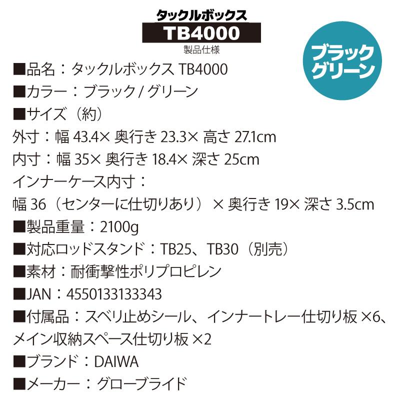 タックルボックス TBシリーズ TB4000 ブラック/グリーン 釣り用収納ハードボックス DAIWA(ダイワ) 釣り