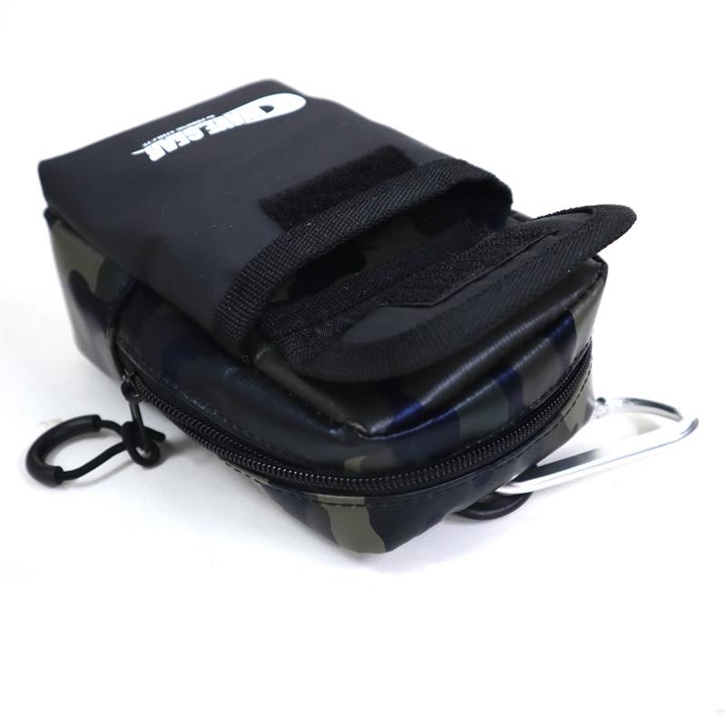 WG小物ポーチ Lサイズ カモ W100×H160×D45+15mm KMY-1635 ターポリン製 WAVE GEAR 釣り具