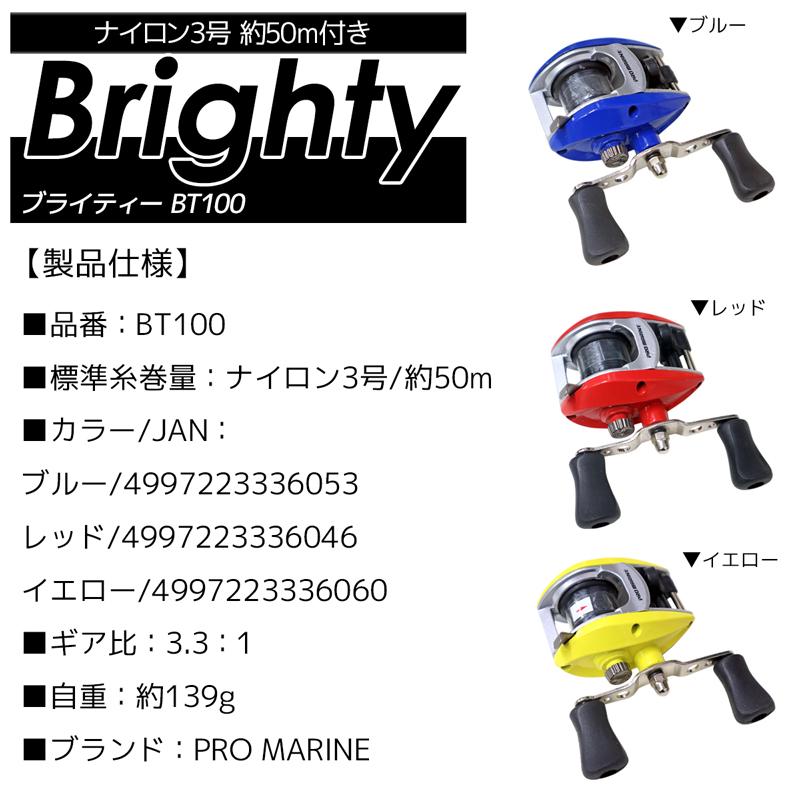 ベイトリール ブライティー BT100 ナイロン3号/約50M付き PRO MARINE