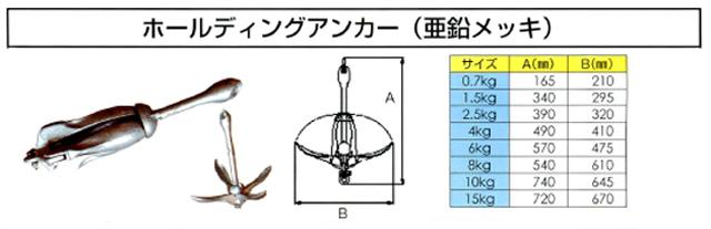 ホールディングアンカー 0.7kg 亜鉛メッキ