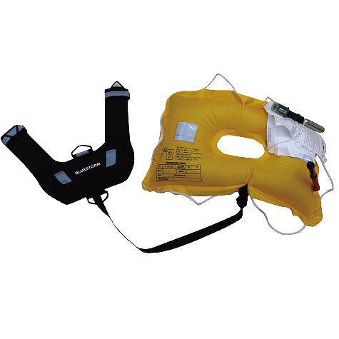水感知式膨脹式救命胴衣 小型船舶用救命浮輪付きゲームベスト BSJ-LR02 ブラック 国土交通省型式承認品 高階救命器具 BLUESTORM