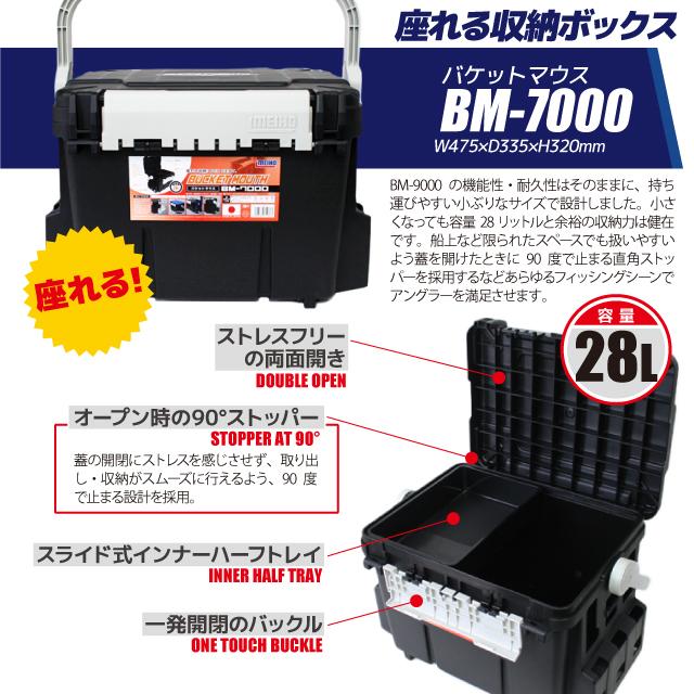 バケットマウスBM-7000 ブラック インナーストッカー×1・ケース×2付 4点セット 釣り用収納ハードボックス 明邦化学工業 MEIHO VERSUS