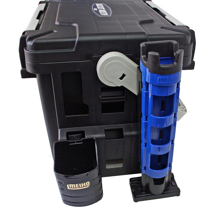 バケットマウスBM-7000 ブラック + ロッドスタンド等 5点セット 釣り用収納ハードボックス タックルボックス 明邦化学工業