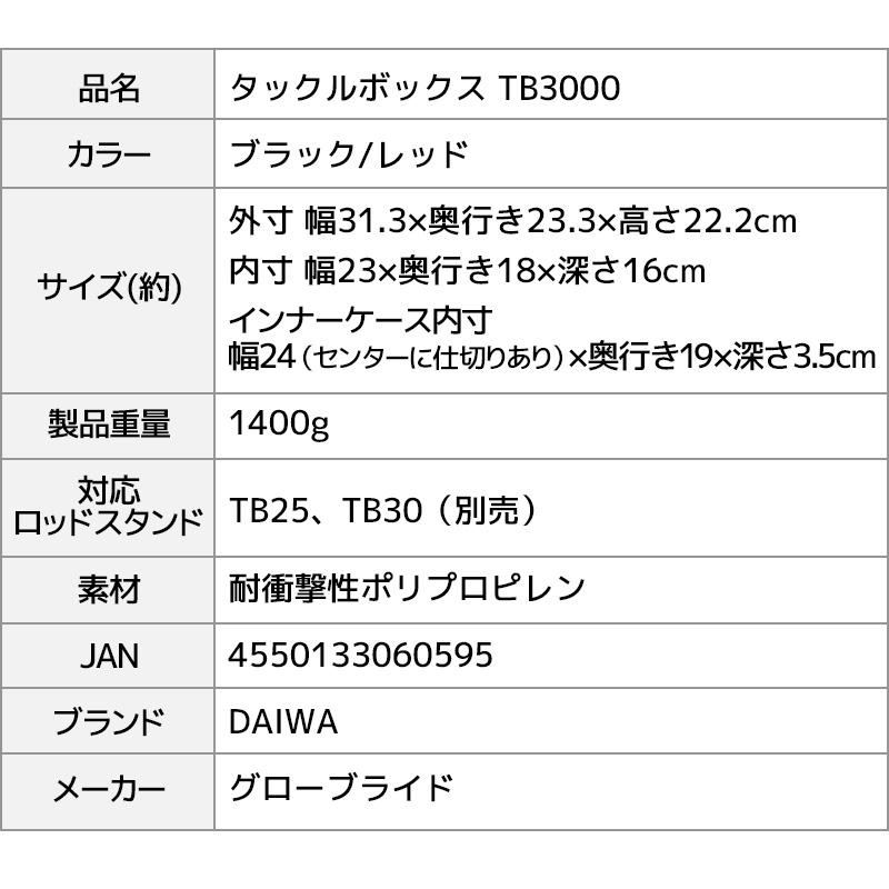 タックルボックス TBシリーズ TB3000 ブラック/レッド ロッドスタンド + ドリンクホルダー付 3点セット ダイワ MEIHO 釣り