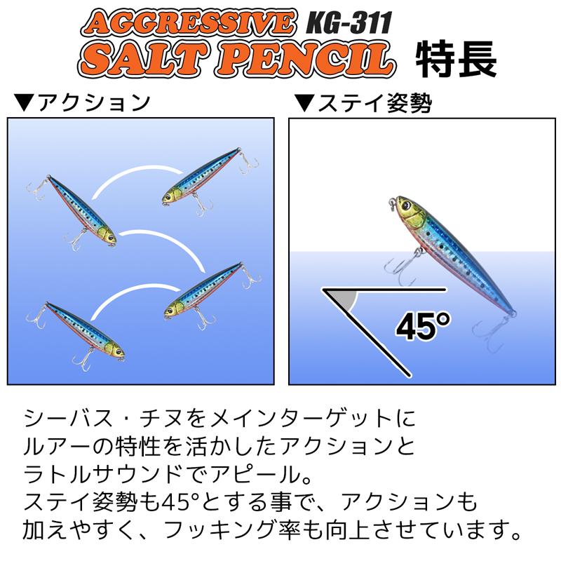 アグレッシブ ソルトペンシル KG-311 80mm/9g 5個セット ルアー トップウォーター FIVE STAR 釣り具