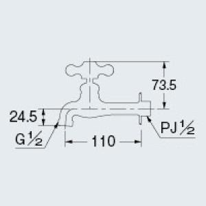 カクダイ 702-022-13 胴長横水栓