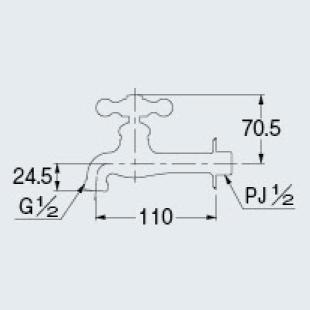カクダイ 702-024-13 胴長横水栓//ブロンズ