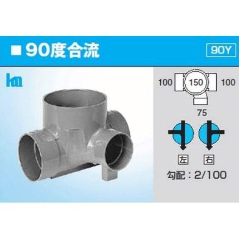 前澤化成工業 塩化ビニル製 インバートマス ビニマスシステム Mシリーズ 合流点 90度合流 M-90Y 右 100×75-150 Mコード40137