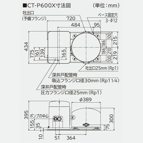 日立 CT-P600X 浅深両用自動ポンプ(ジェット別売) (50hz/60hz共用・単相100V・出力600W )