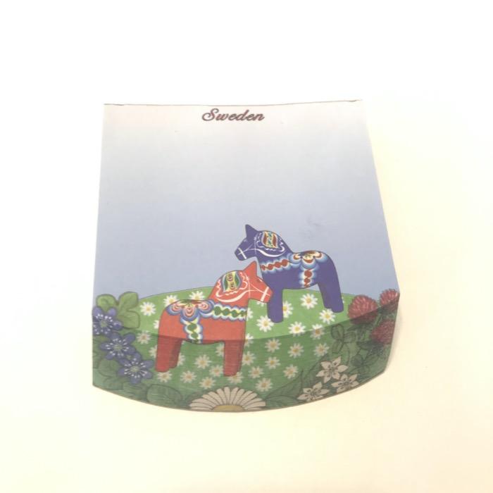 北欧お土産 メモパッド ダーラナホース(お花畑)