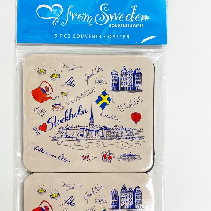 北欧お土産 コースター 6枚セット スウェーデン名物