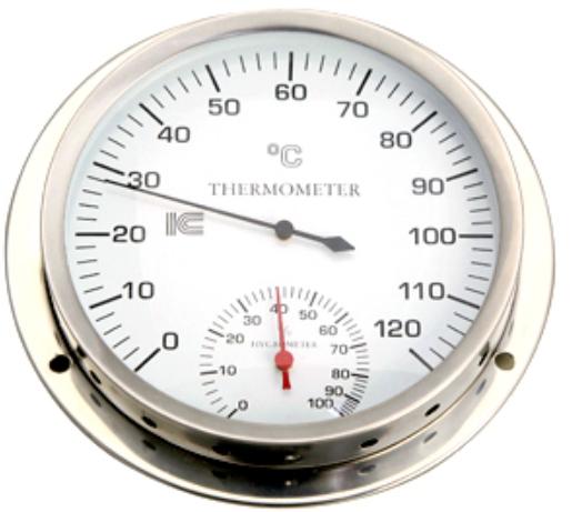 「ドライサウナ用」耐熱温湿度計 サーモ550 直径15cm |IC