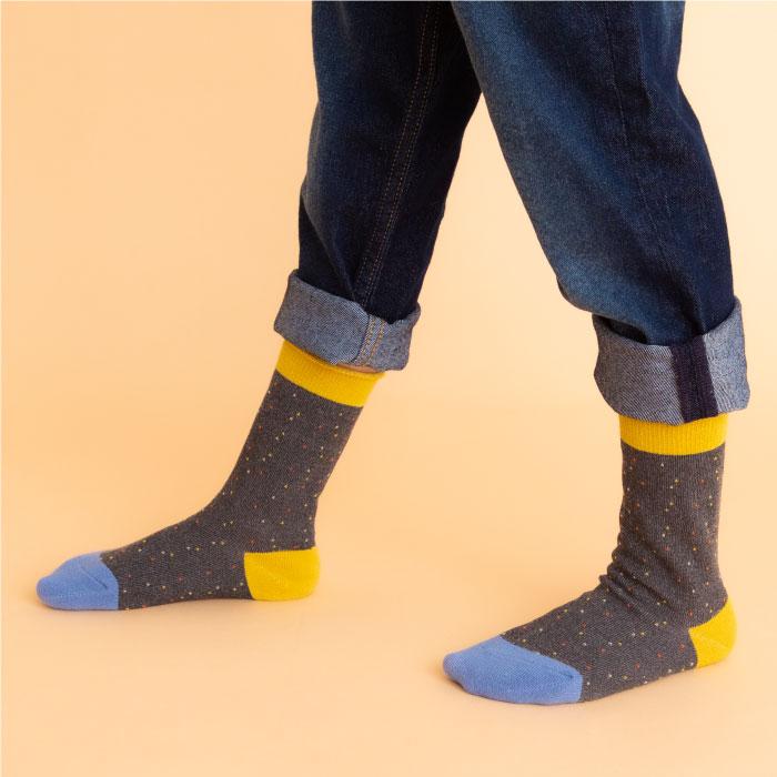 stample スタンプル ネップ風クルーソックス3足組 靴下 くつ下 キッズ 子供 親子お揃い